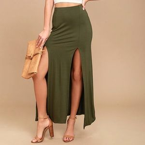 NWOT COME ON OVER OLIVE GREEN MAXI SKIRT